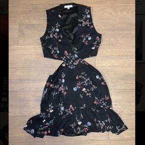 Honey Punch black floral cutout dress